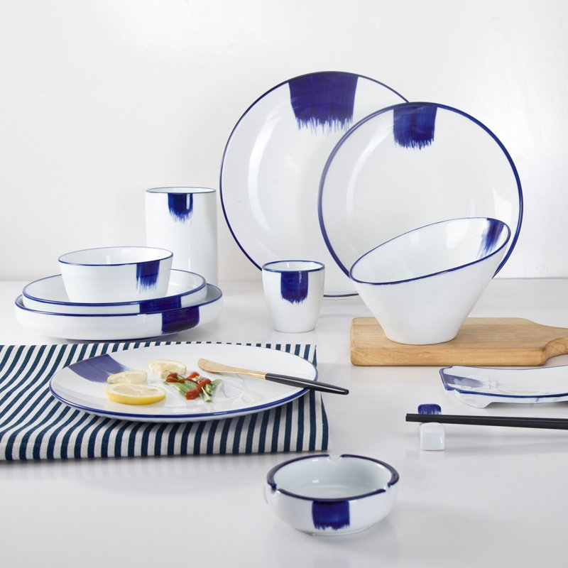 Two Eight Classic Navy Blue Rim & White Color Bone china Dinner Set  - CANG HAI YI SU SERIES Colored Porcelain Dinner Set image3
