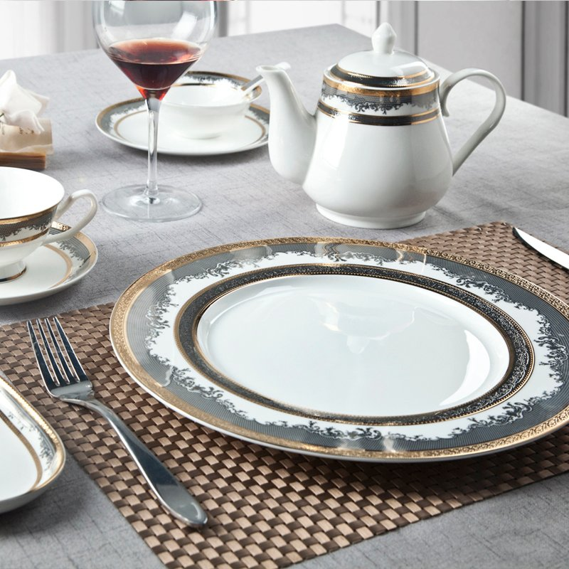 Two Eight Classic Style Round Decal Fine Bone china Dinnerware with Golden Rim - SJB-H074 SERIES Fine china Dinnerware image2