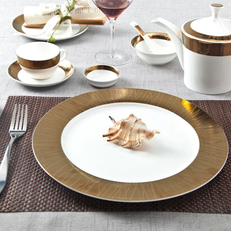 Two Eight Golden And White  Porcelain Fine Bone china Dinnerware With Embossed Rim - SJB-H071 SERIES Fine china Dinnerware image5
