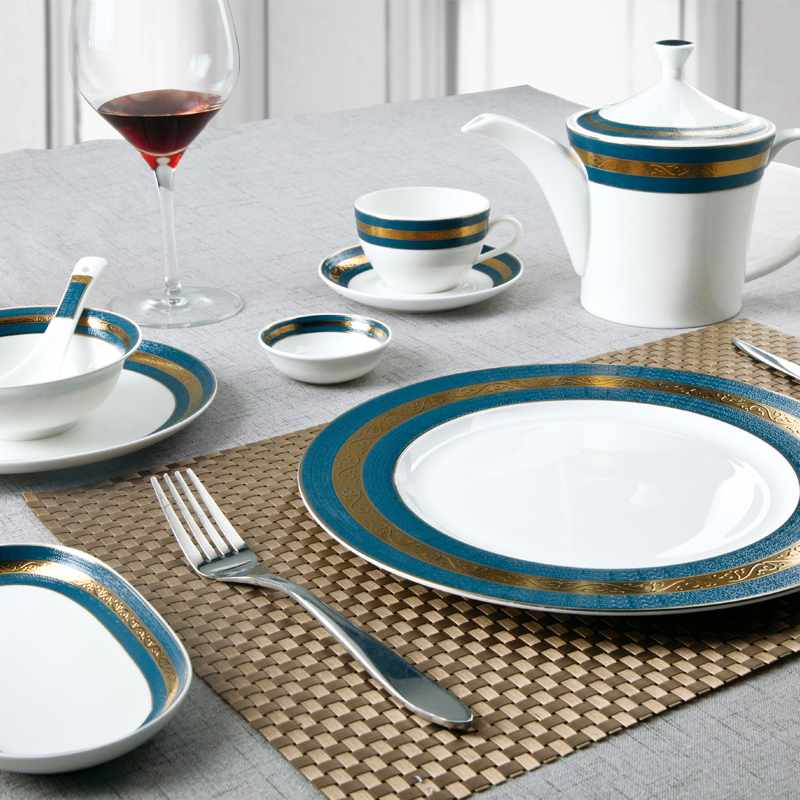 Two Eight Navy Blue Fine & Golden Mixed Fine Porcelain Dinnerware for Hotel - SJB-H070 SERIES Fine china Dinnerware image6