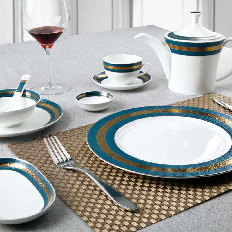 Navy Blue Fine & Golden Mixed Fine bone china Dinnerware for Hotel - TD07