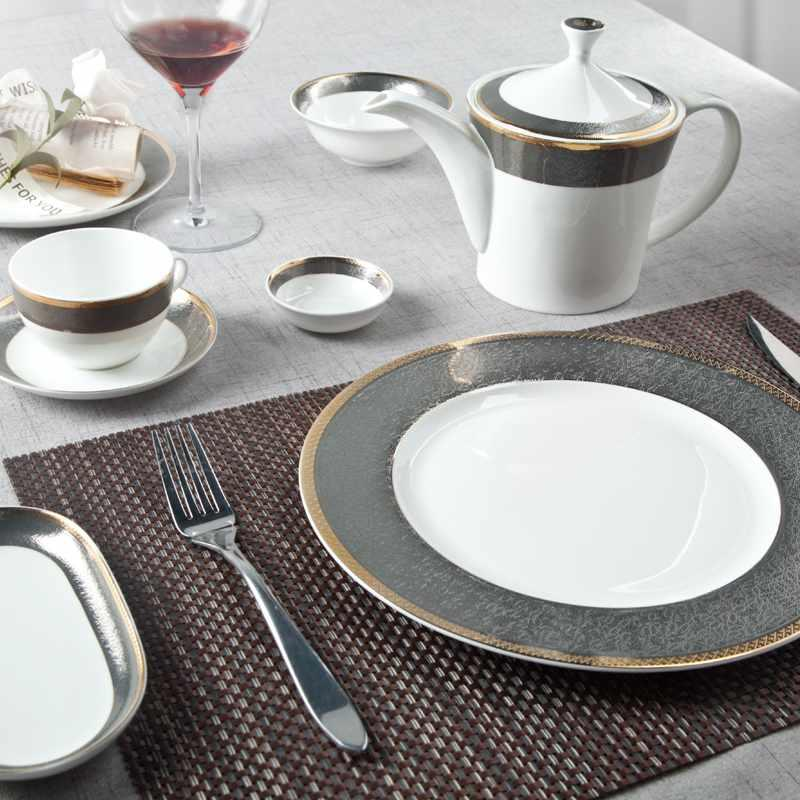 Classic Style Grey Decal Fine Bone china Dinnerware With Golden Rim - TD09