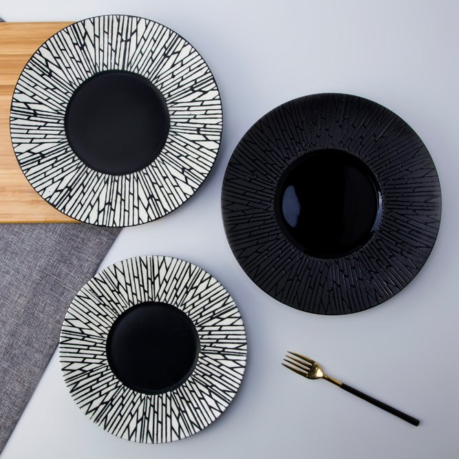 Two Eight Open Stock Black And White Color Porcelain Dinner Set for Kitchen- HEI SHI WEN SERIES Colored Porcelain Dinner Set image22
