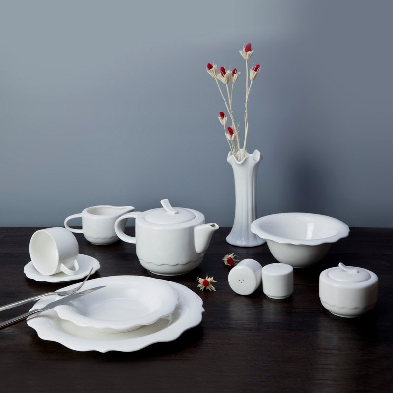 Two Eight Contemporary Style White Ceramic Dinnerware Set With Irregular Plate - BING HUA SERIES White Porcelain Dinner Set image18