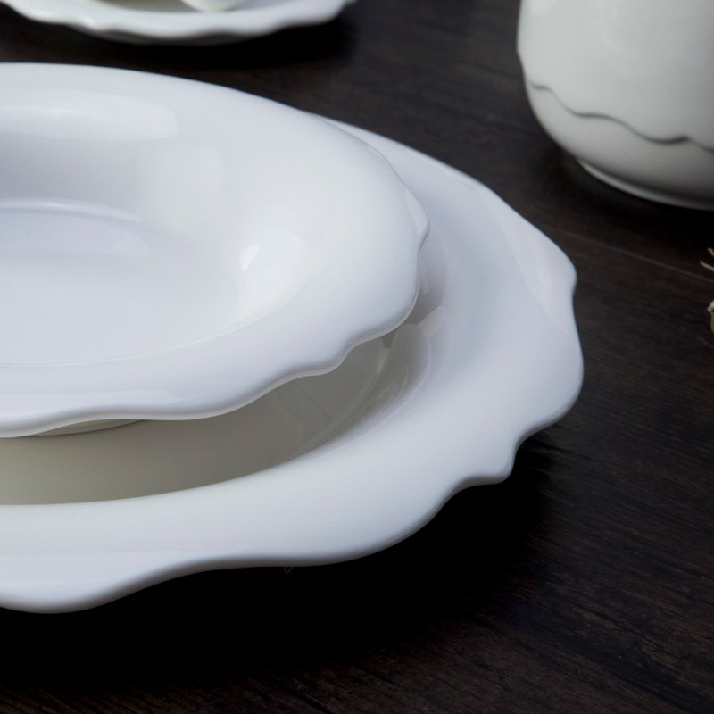 Two Eight Casual Style Embossed White Color Porcelain Dinnerware Accessories - XI CUI SERIES Porcelain Dinnerware Accessories image1