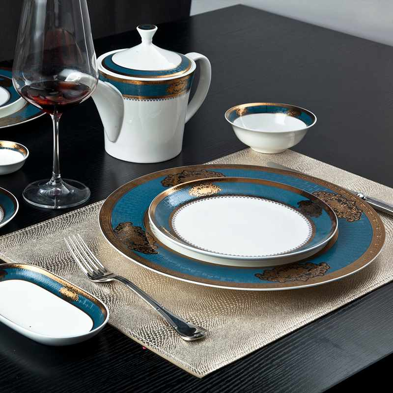Two Eight Royalty Style Fine Porcelain Dinnerware With Blue & Gold Decal Rim - SJB-H073 SERIES Fine china Dinnerware image3
