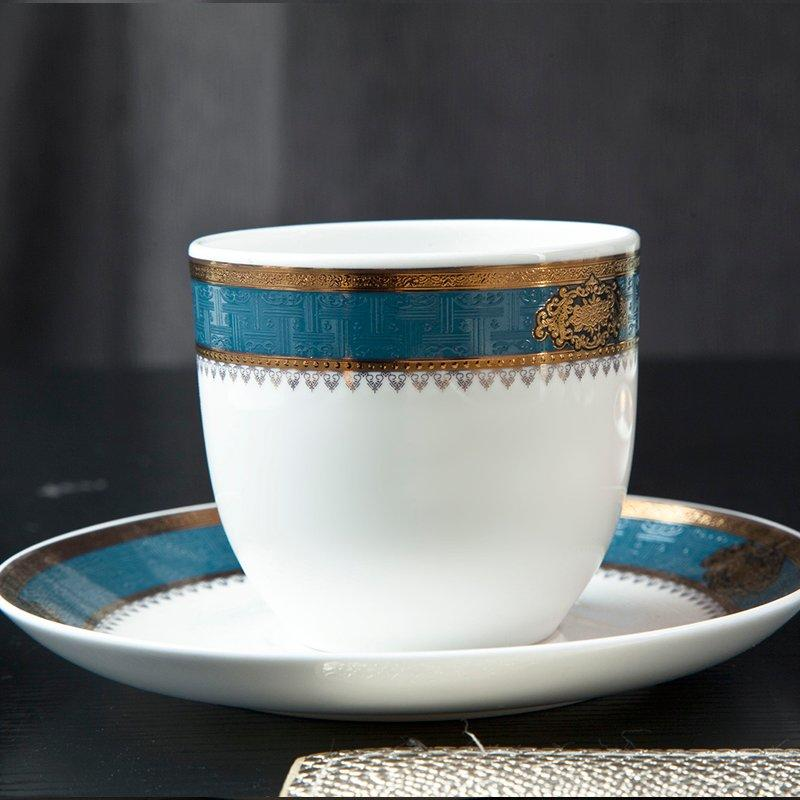 Royalty Style Fine Porcelain Dinnerware With Blue & Gold Decal Rim - TD10