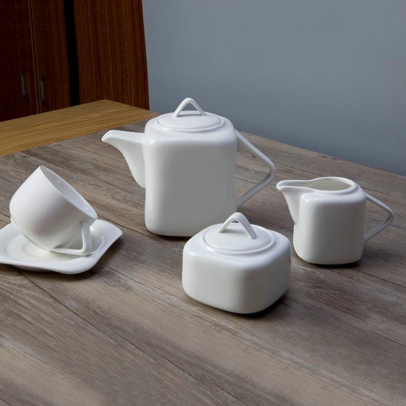 11 piece restaurant modern white porcelain dinnerware - TW15