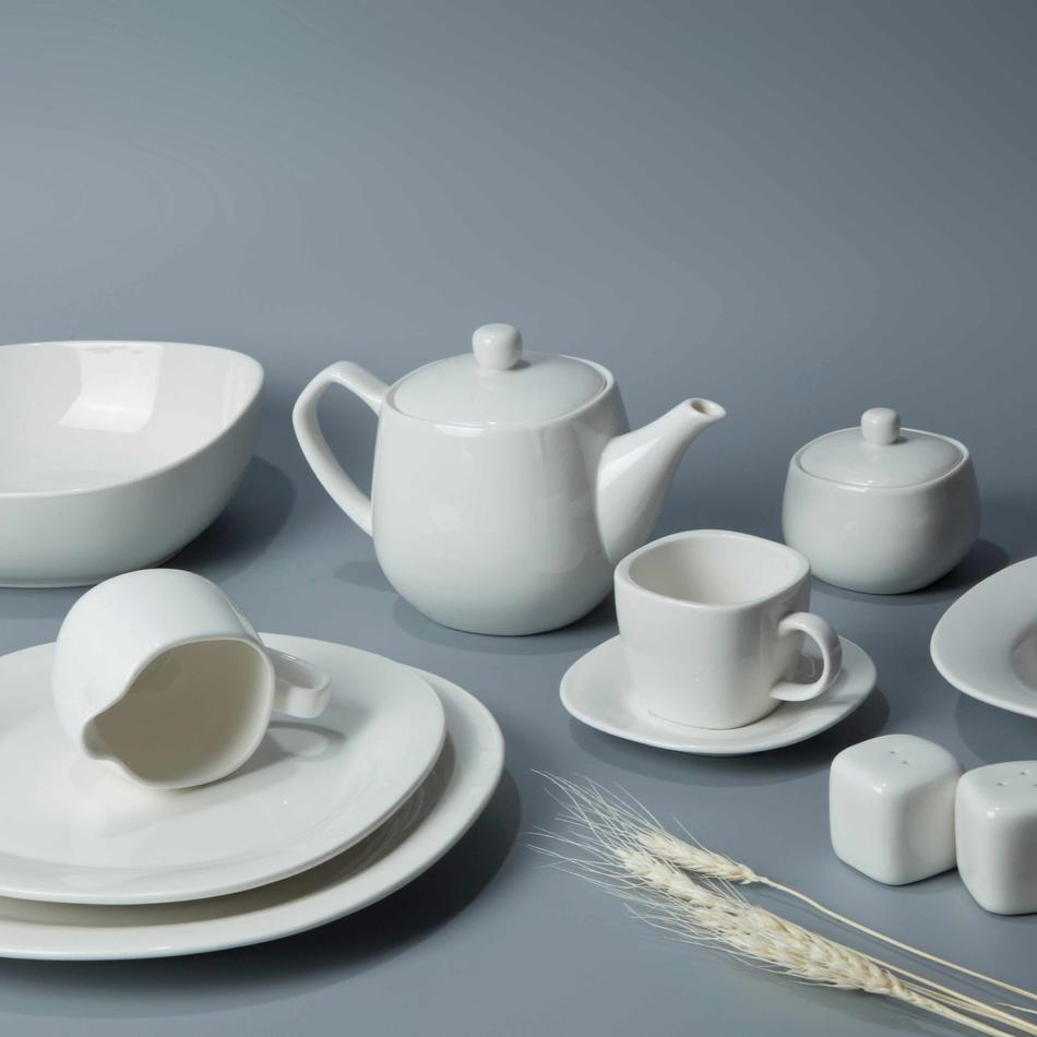 8 piece restaurant contemporary white dinnerware - TW29
