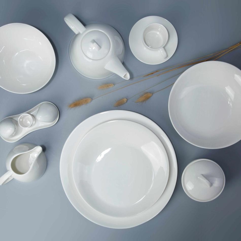 8 piece restaurant classic white dinnerware set - TW27