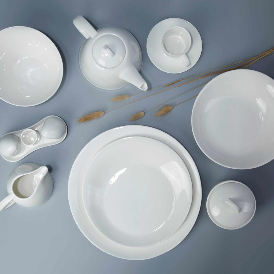 8 piece restaurant classic white dinnerware set - TW27