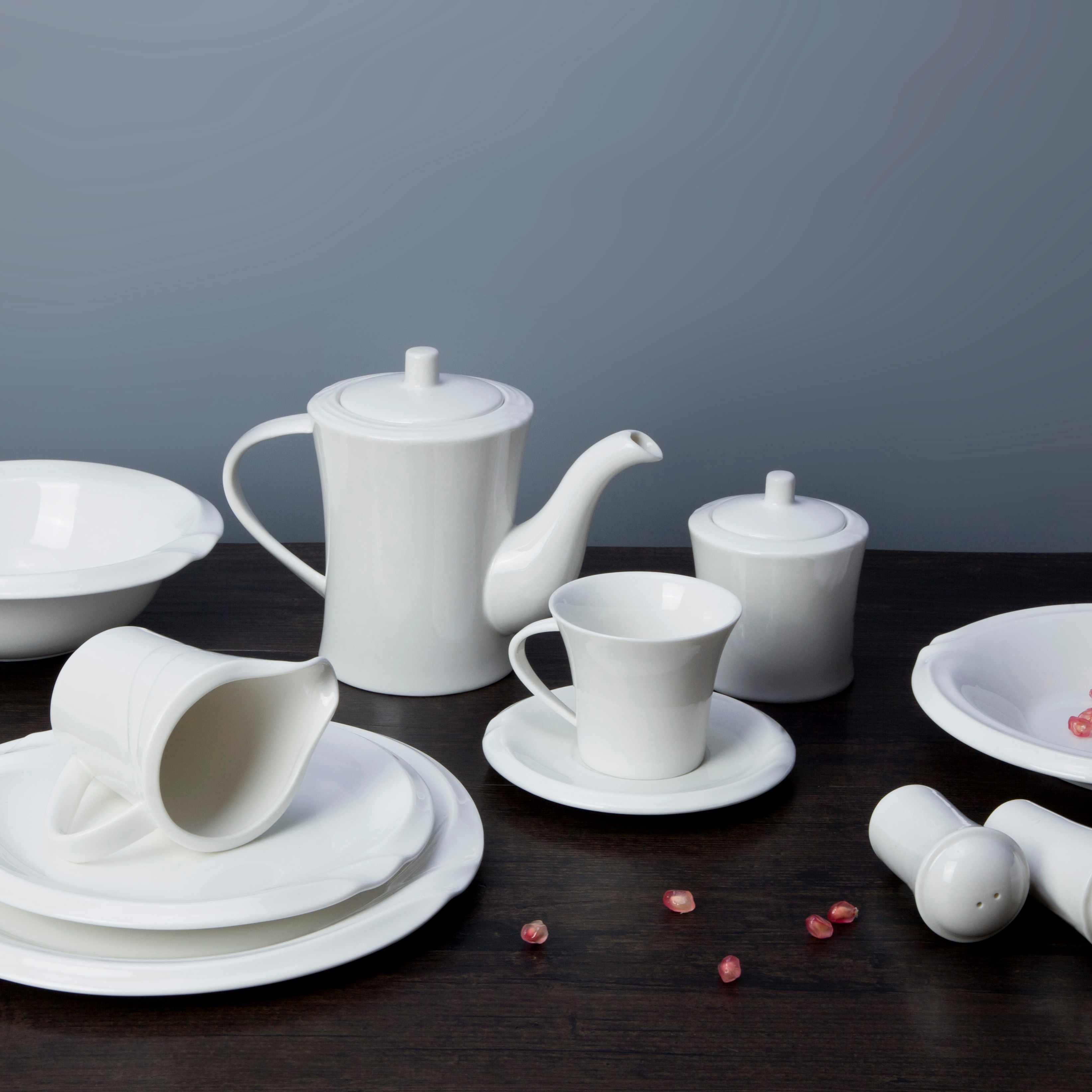 Two Eight White ceramic dinnerware set - XUAN WEN SERIES White Porcelain Dinner Set image12
