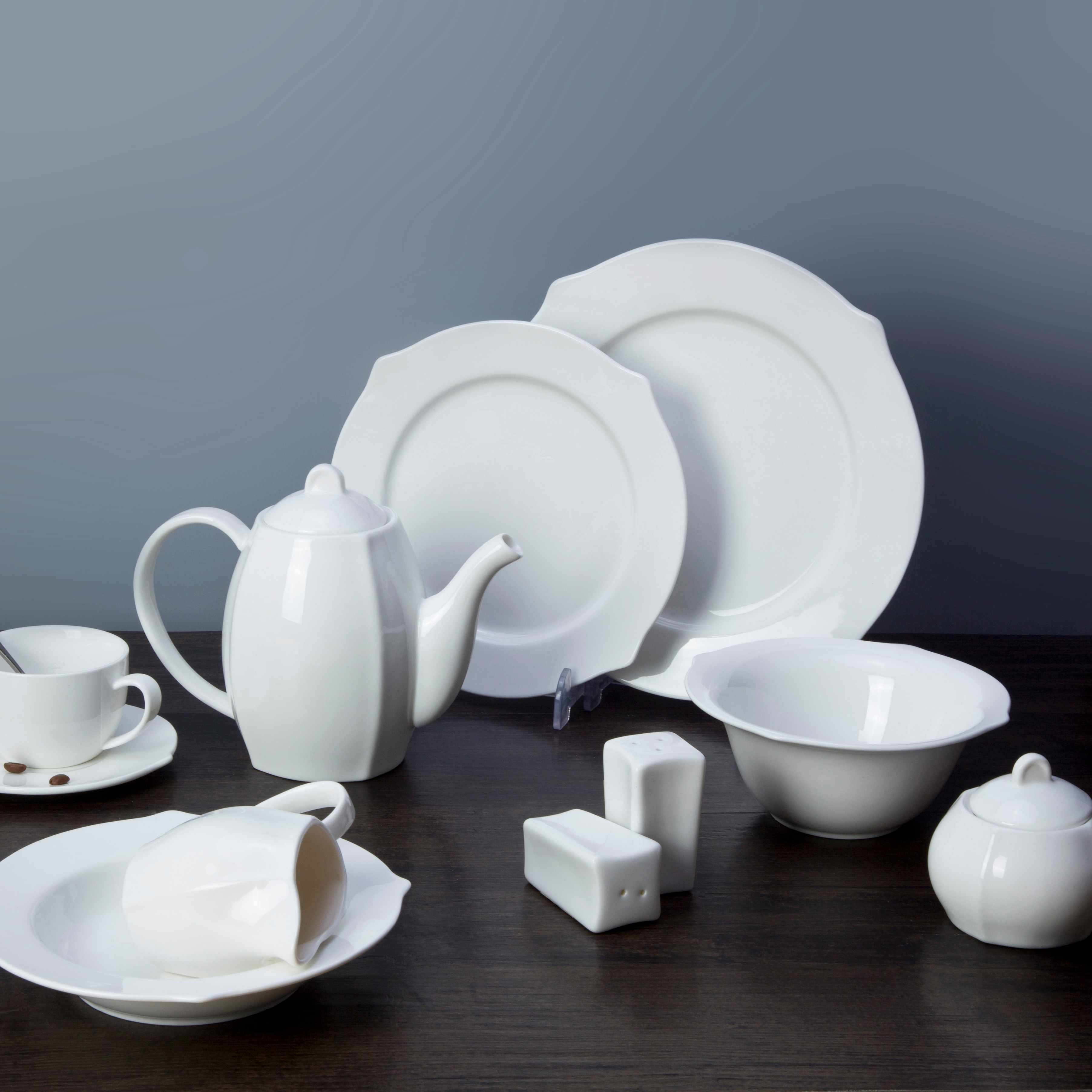 Two Eight White ceramic dinnerware set - XING KONG SERIES White Porcelain Dinner Set image11