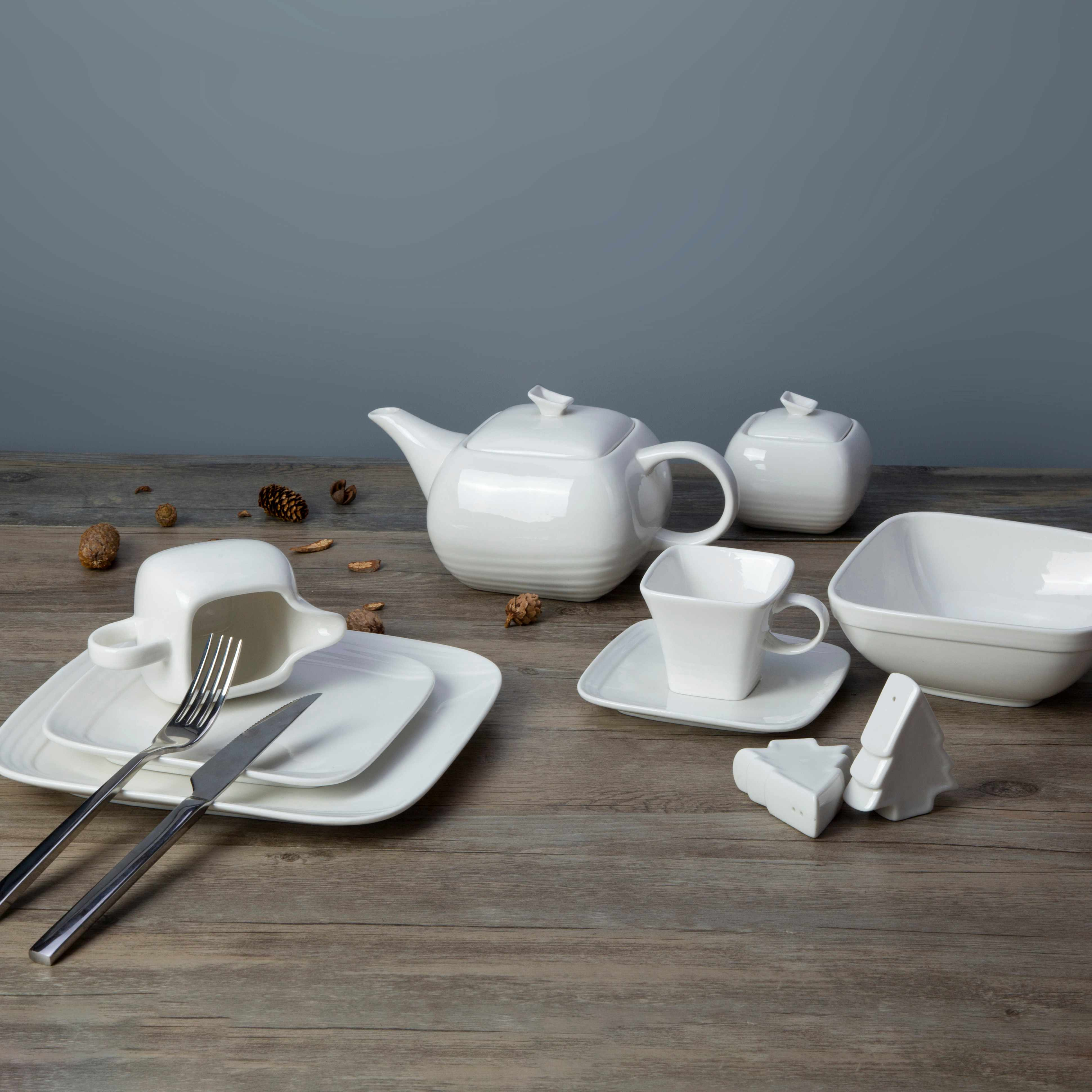 Two Eight White ceramic dinnerware set - XING HE SERIES White Porcelain Dinner Set image10