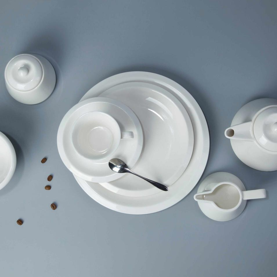 12 piece restaurant contemporary white dinnerware - TW23