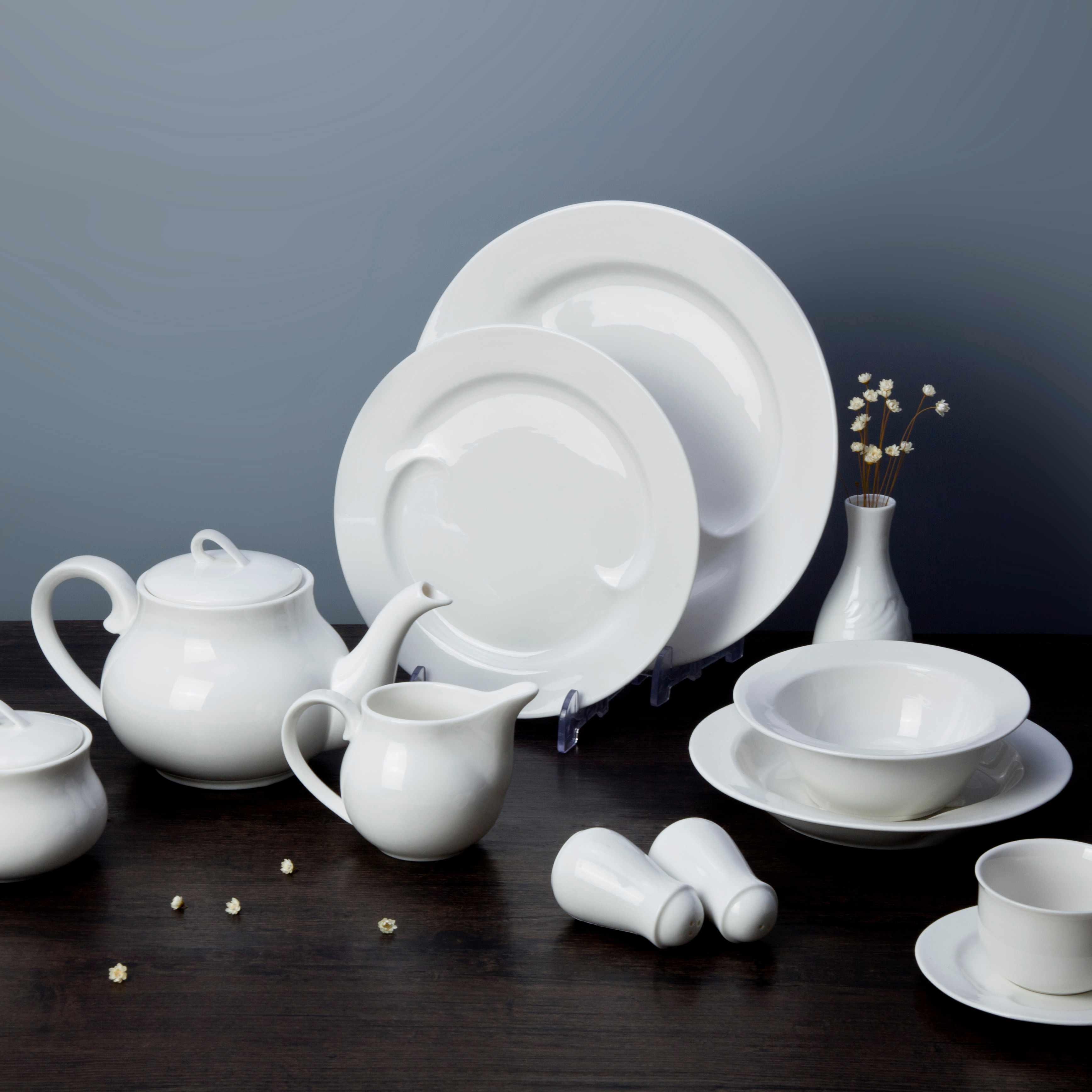 Two Eight White ceramic dinnerware set - TAO FU SERIES White Porcelain Dinner Set image7