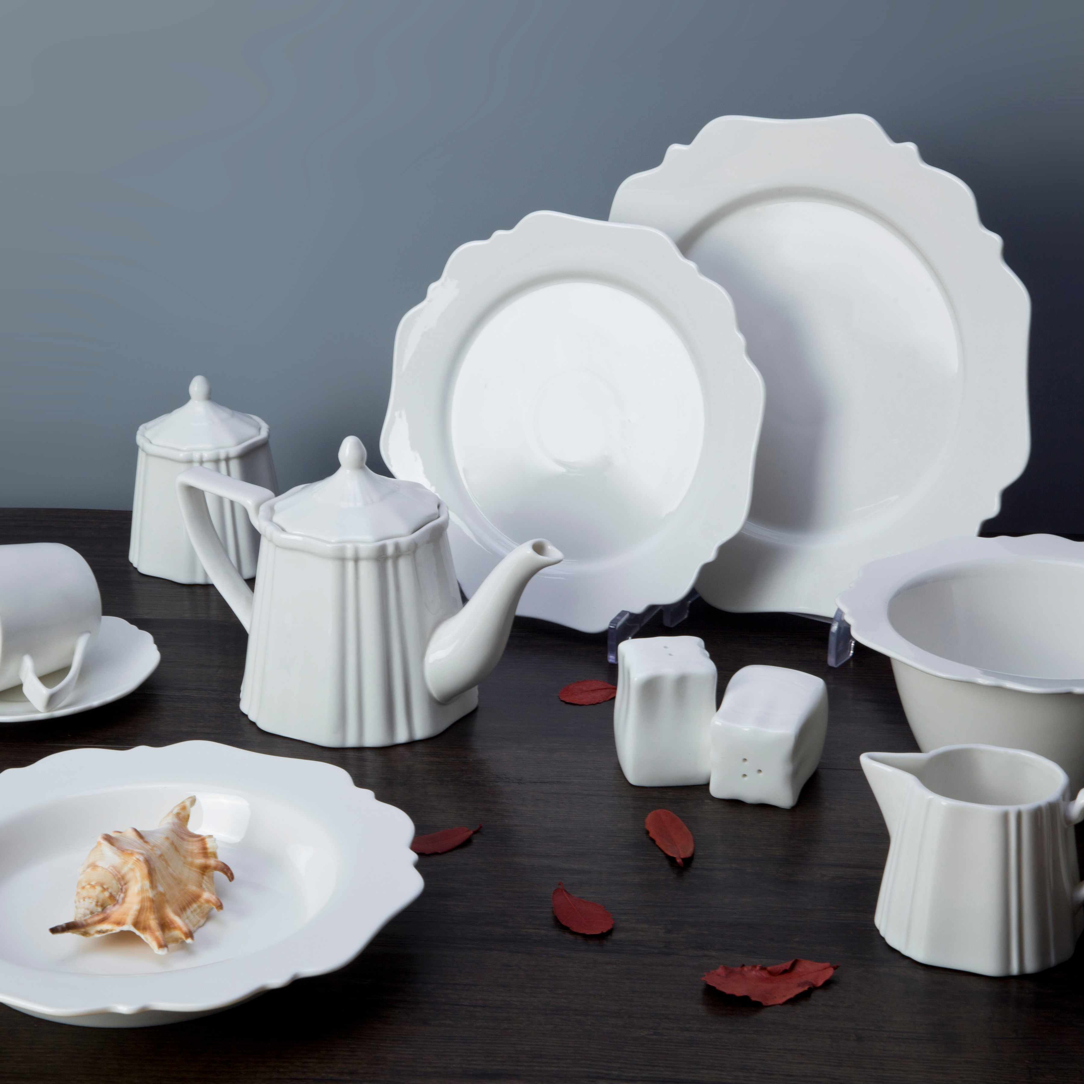 Two Eight White ceramic dinnerware set - HUA BIAN SERIES White Porcelain Dinner Set image4