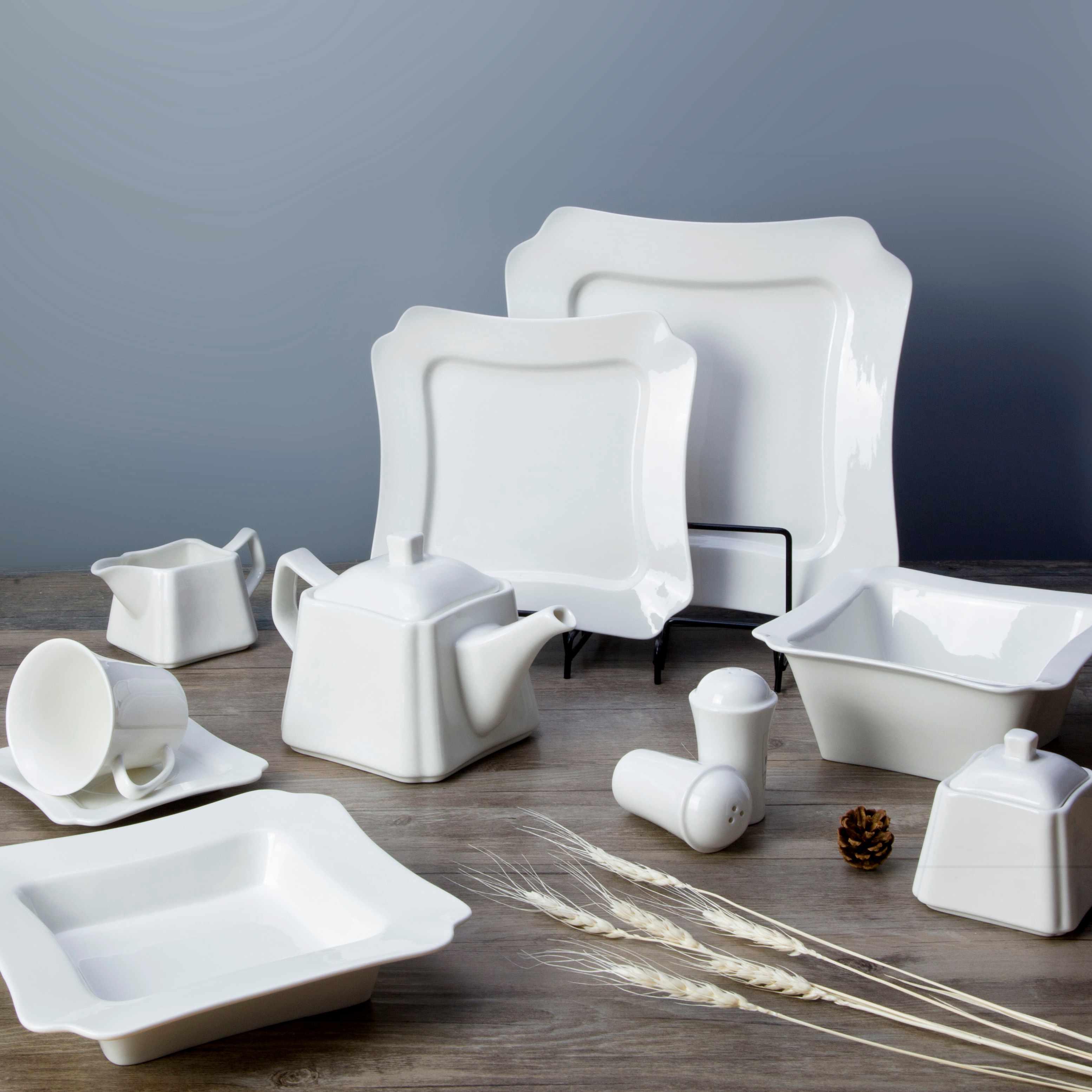 Two Eight White ceramic dinnerware set - FENG ZHENG SERIES White Porcelain Dinner Set image3