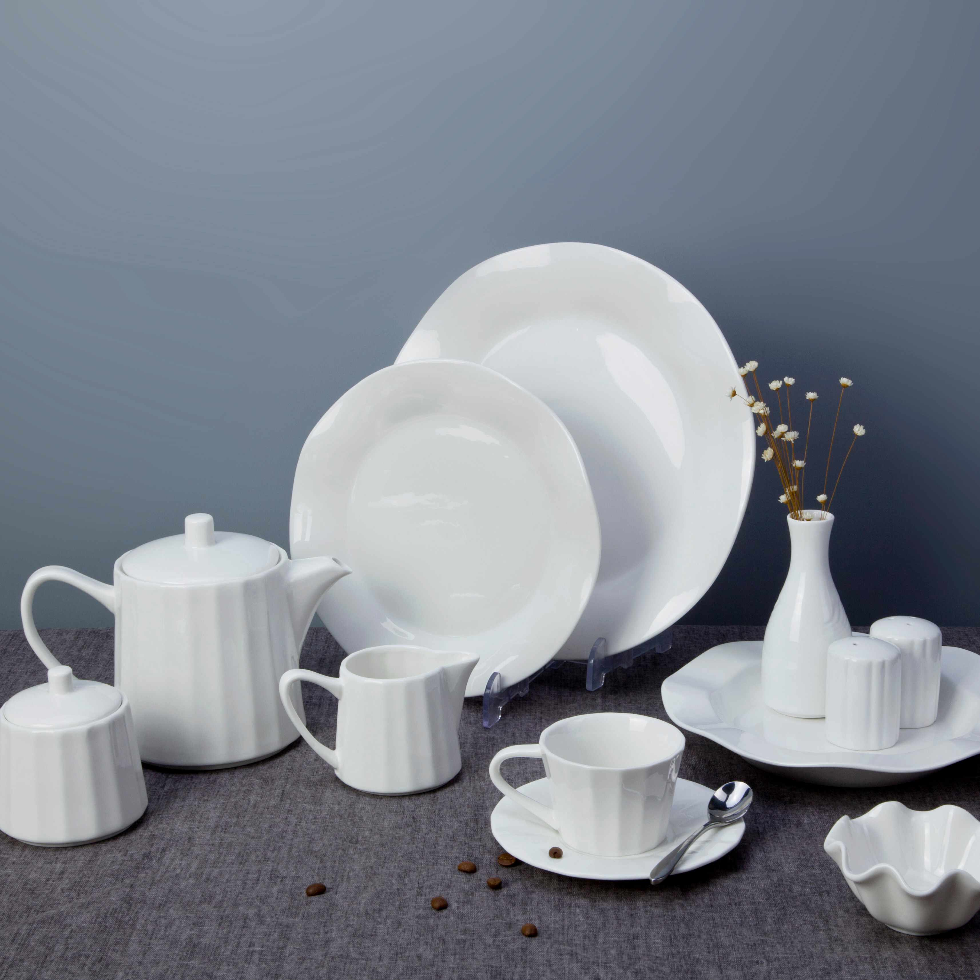 Two Eight White ceramic dinnerware set - FENG YUN SERIES White Porcelain Dinner Set image2