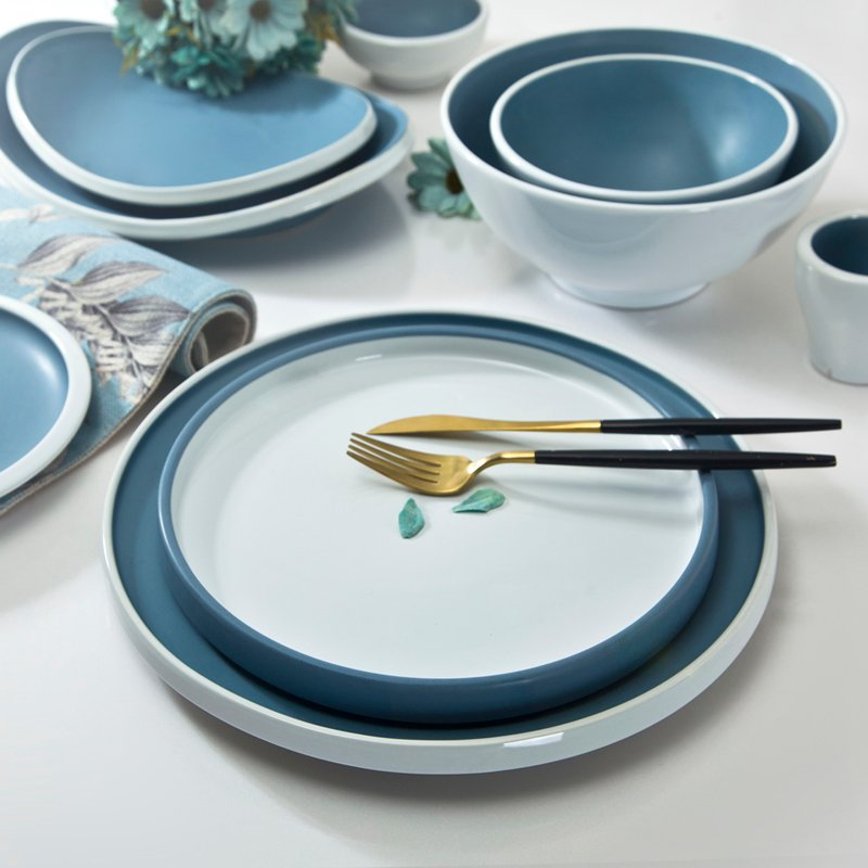 Two Eight Grey & White Color contemporary Style Ceramic Dinner Set With White Rim - QING TANG HE YUN SERIES Colored Porcelain Dinner Set image16