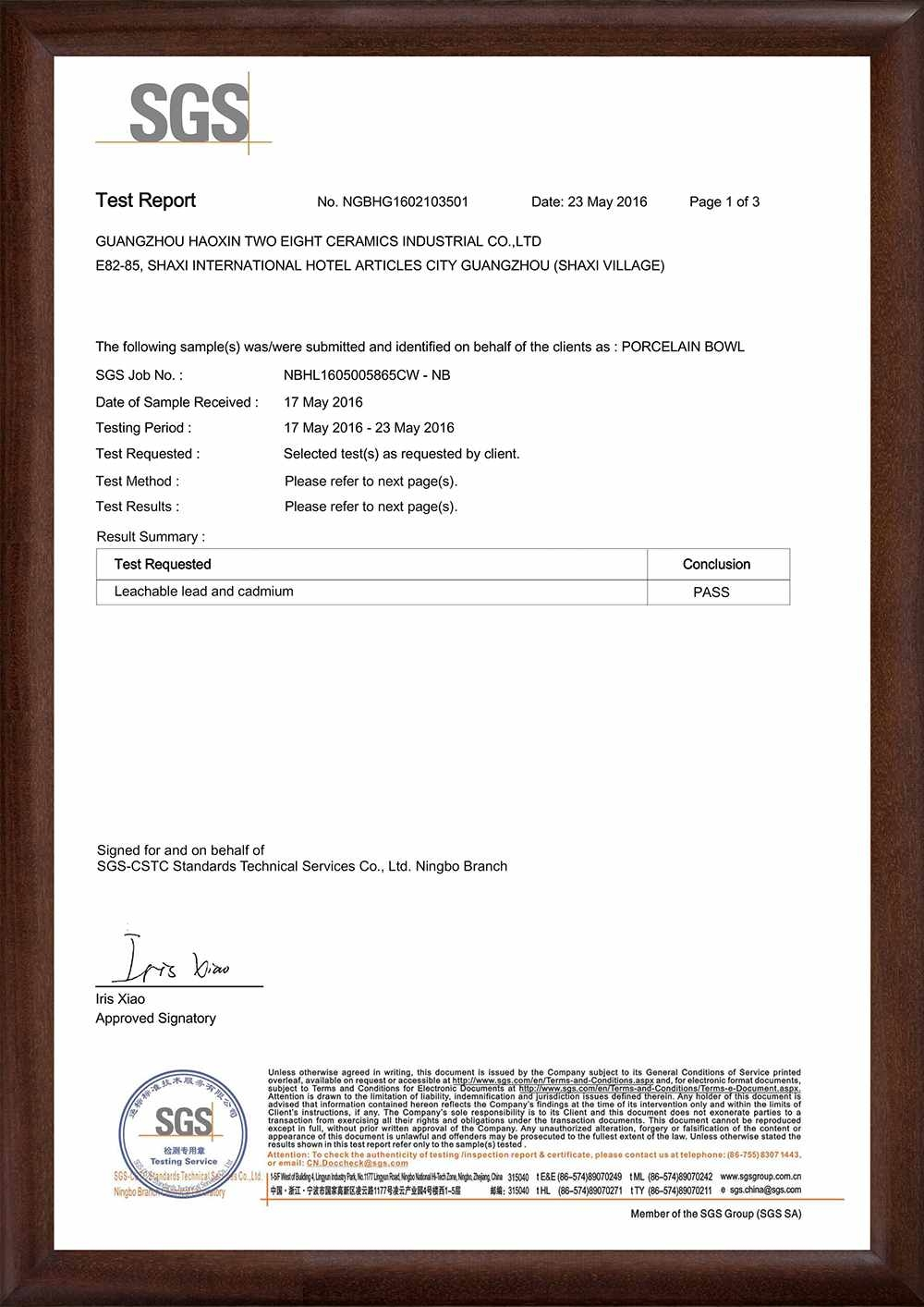 2016/5/2     EC-Leachable Lead and Cadmium Test for Brown Ceramic Bowl