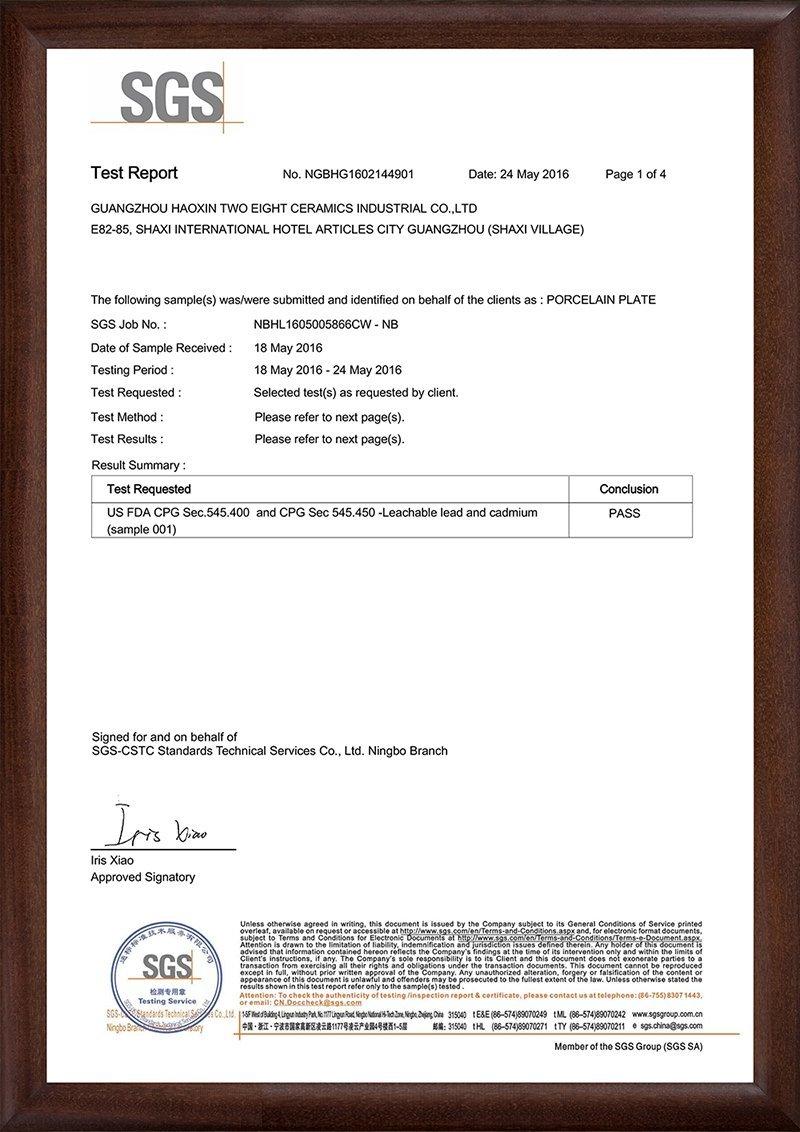 2016/5/24  FDA-Leachable Lead and Cadmium Test for white Ceramic Plate