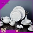 Two Eight round white dinner sets customized for kitchen