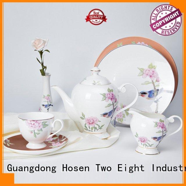 OEM fine china tea sets white rose fine white porcelain dinnerware