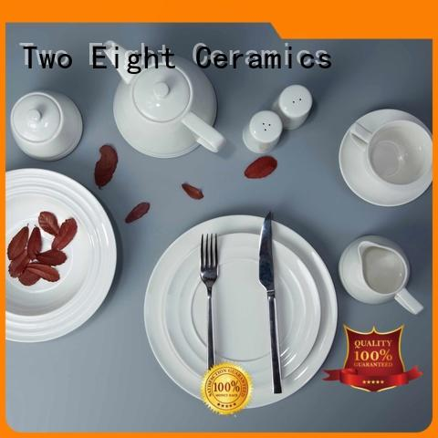Two Eight royal white dinnerware sets for 8 customized for bistro