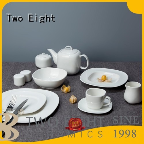 contemporary irregular white porcelain tableware Two Eight Brand