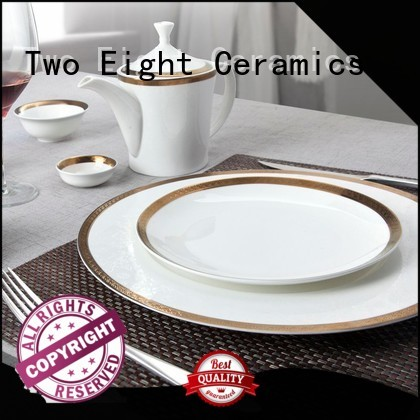 fine white porcelain dinnerware golden Two Eight Brand two eight ceramics