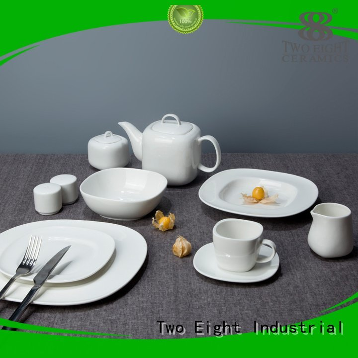 french smoothly white dinner sets Two Eight white porcelain tableware embossed style