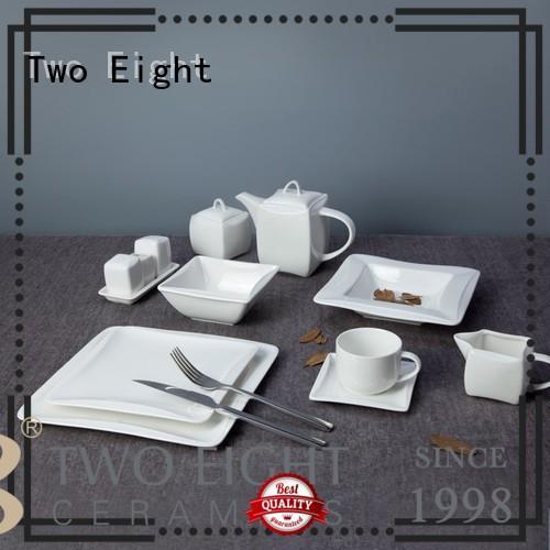 Two Eight bulk white restaurant dishes manufacturer for hotel