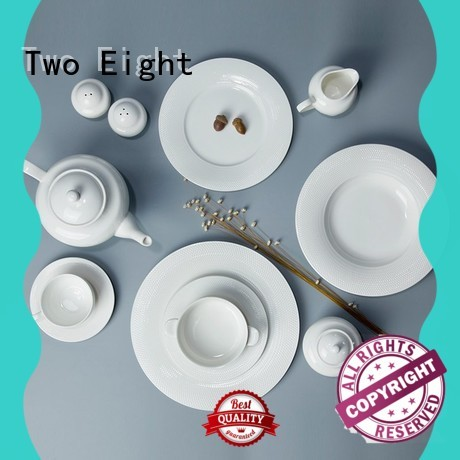 Two Eight royalty white porcelain dishware rim for hotel