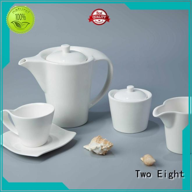 Two Eight German style white bone china dinnerware customized for kitchen