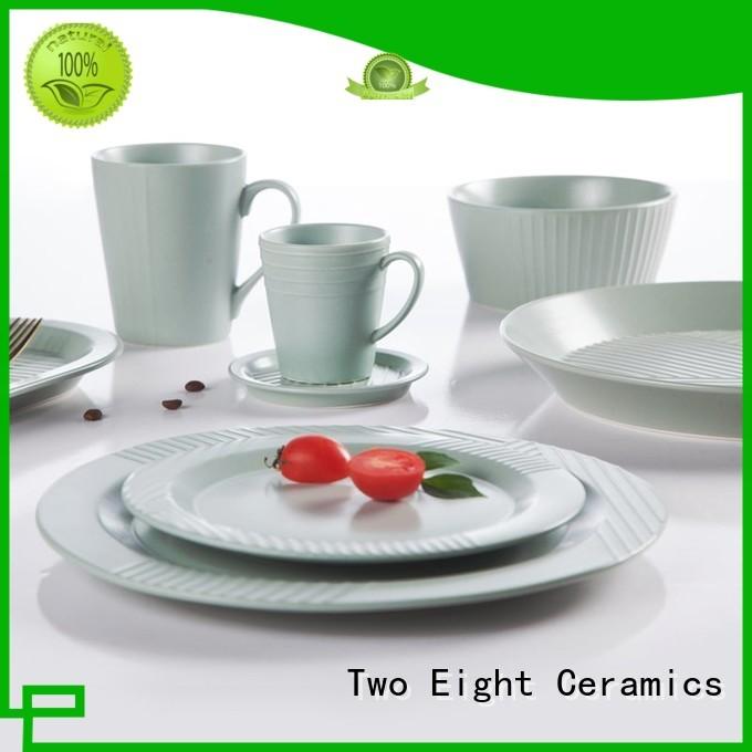 Italian style durable white dinnerware embossed for dinning room Two Eight