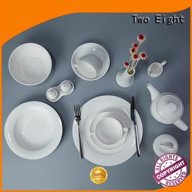 Two Eight irregular white porcelain plate set sample for dinner