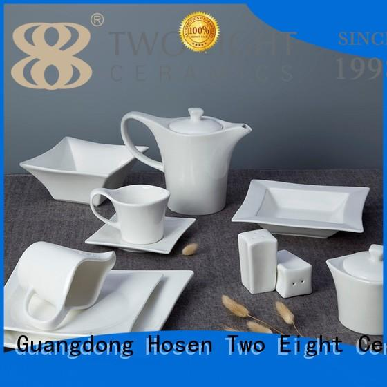 Two Eight casual off white porcelain dinnerware customized for hotel