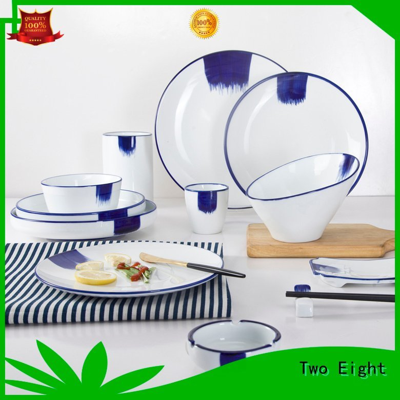 OEM 16 piece porcelain dinner set green country decal blue and white porcelain