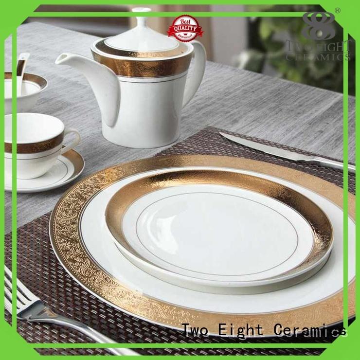 Two Eight Brand gloden dinnerware whithe custom fine white porcelain dinnerware