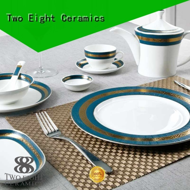 Two Eight Brand color rose silver fine white porcelain dinnerware