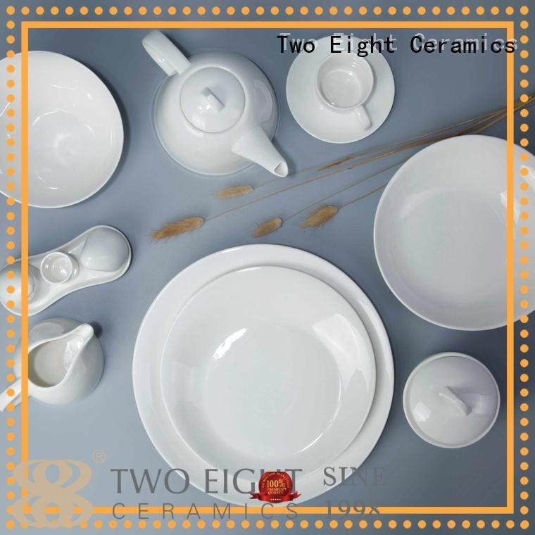 sample embossed white porcelain tableware Two Eight Brand