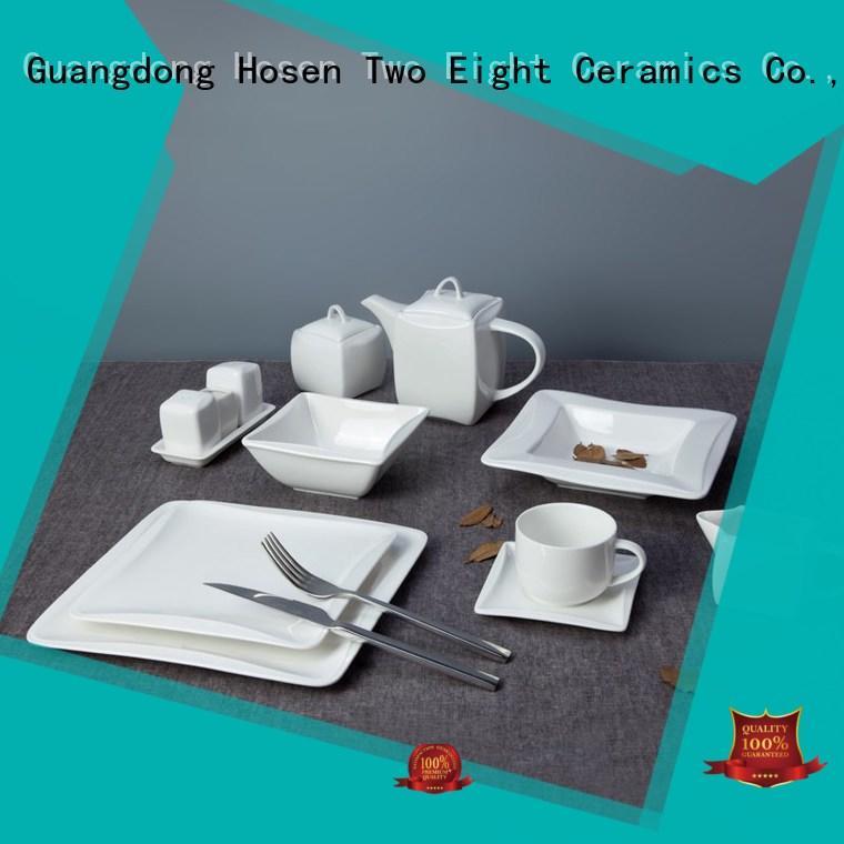 Two Eight square white dinnerware Vietnamese for dinner
