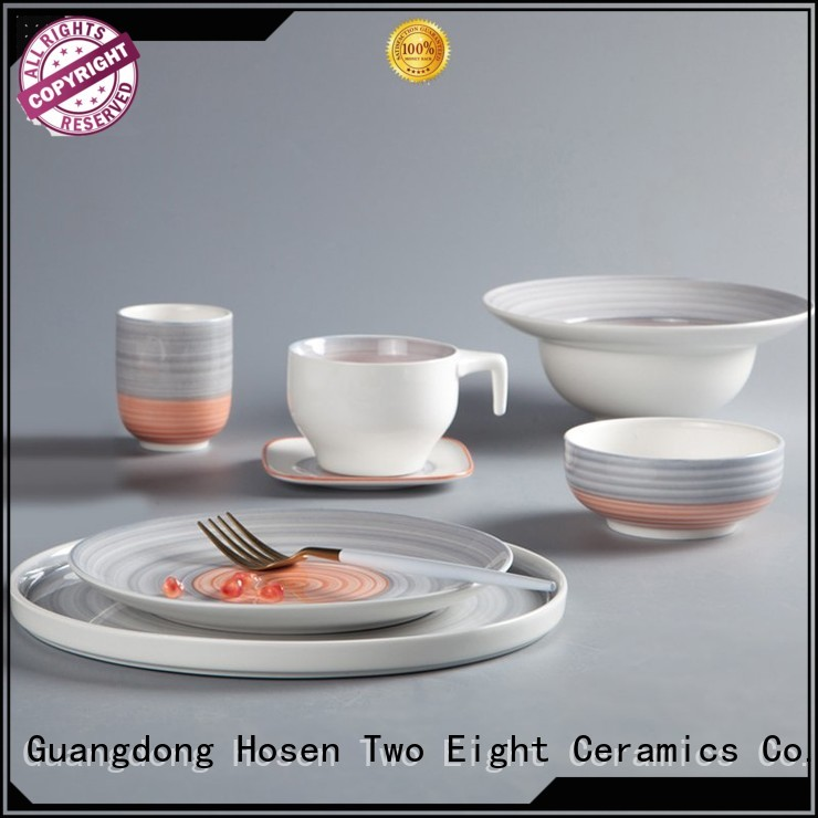 Two Eight durable cream colored porcelain dinnerware round for kitchen