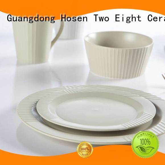 Two Eight smoothly porcelain plate set manufacturer for dinning room
