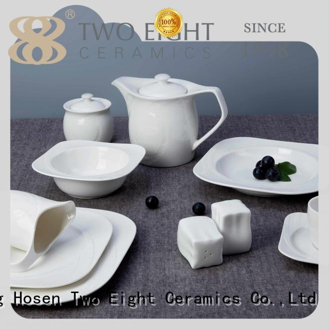 Two Eight rim white bone china dinnerware from China for bistro