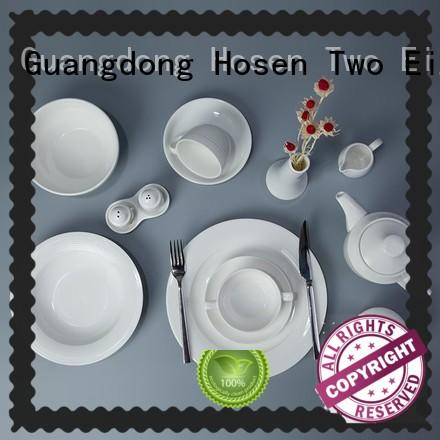 Two Eight rim restaurant plates and cutlery from China for bistro