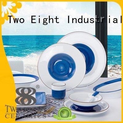 rim german simple 16 piece porcelain dinner set Two Eight