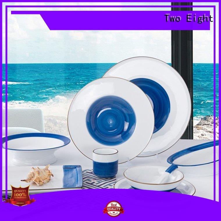 rim porcelain dinnerware customized for restaurant Two Eight