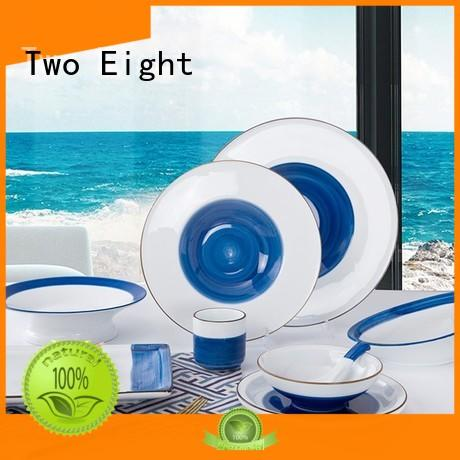 Two Eight rim restaurant dinnerware sets from China for dinning room